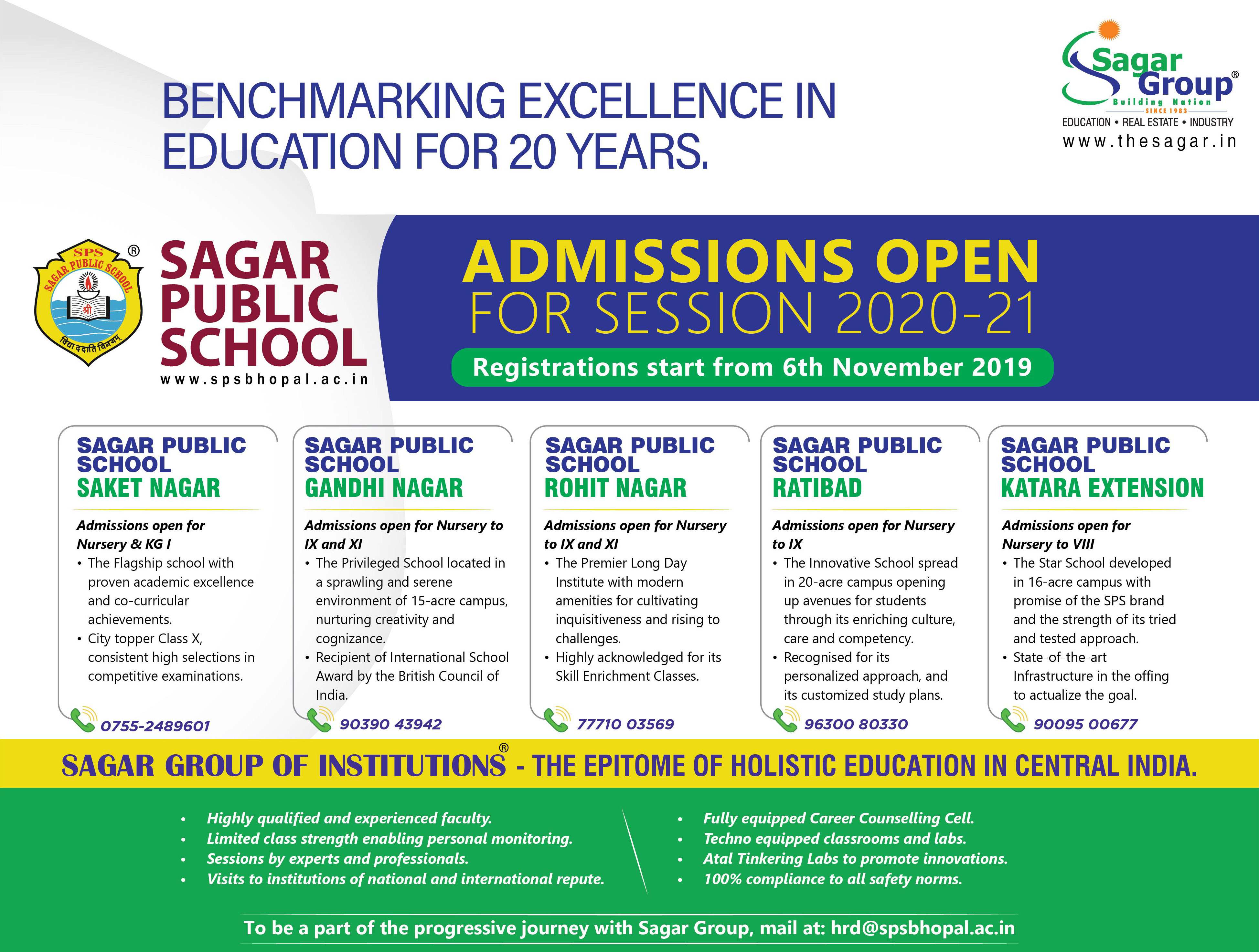 sagar public school admission, sps, best school in bhopal